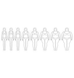 woman with different weight vector image