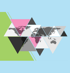 World map in triangle shape vector