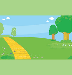 yellow brick road landscape background vector image