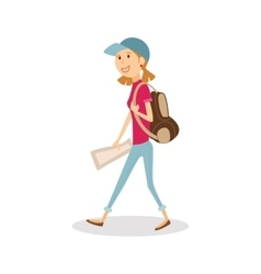 Young happy woman traveler with backpack and map vector