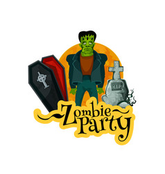 Zombie party invitation card for halloween holiday vector