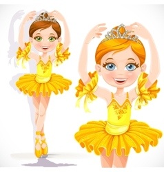Beautiful little ballerina girl in yellow dress vector image