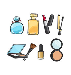 collection of make-up things lipstick powder vector image vector image
