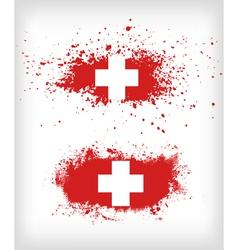 Grunge ink splattered flag of switzerland vector