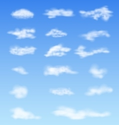 Landscape atmosphere fluffy white clouds blue sky vector