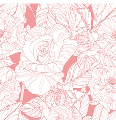 seamless pink pattern with roses vector image vector image