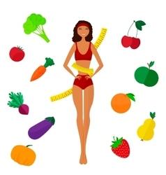 The slender dark-skinned and Slimming girl Diet vector image