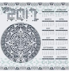 Calendar 2017 in aztec style vector image