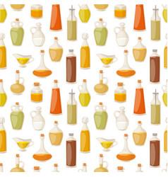 Different food oil in bottles liquid natural vector