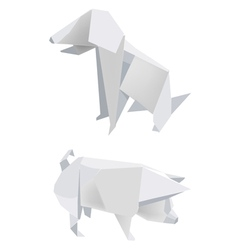 Paper pig dog vector image