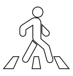 pedestrian on zebra crossing icon black color vector image vector image