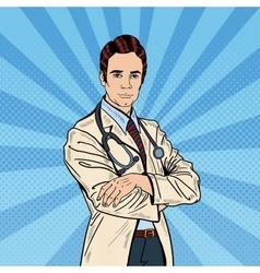 Pop Art Confident Doctor Man with Stethoscope vector image