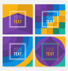 set of colorful cards modern abstract design vector image