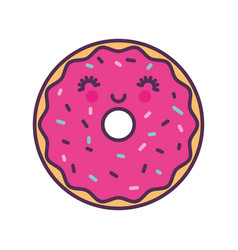 sweet and delicious donut kawaii character vector image