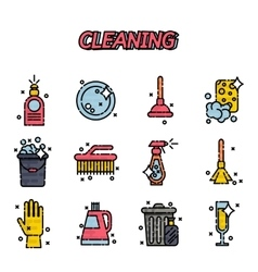 Cleaning flat icons set vector image vector image