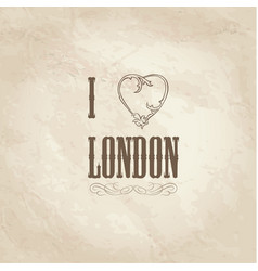 i love london lettering with floral heart shape vector image vector image
