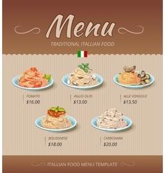 Pasta restaurant menu design template vector