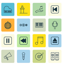 set of 16 music icons includes rostrum note vector image vector image