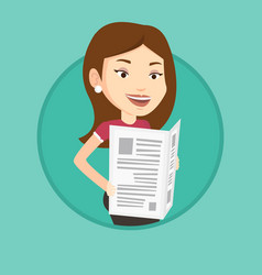 woman reading newspaper vector image vector image