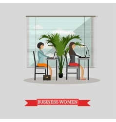 Business women work with laptops in office vector image vector image