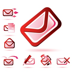 email icons set isolated glossy symbols vector image vector image