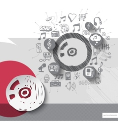 Hand drawn disc icons with icons background vector image vector image