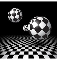 Magic balls over the checkered floor vector image