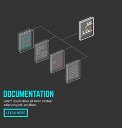 neon document connection vector image vector image
