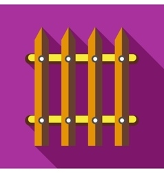 Wooden fence icon in flat style vector image