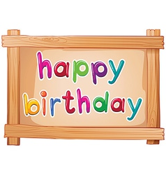 A signboard with a happy birthday template vector image