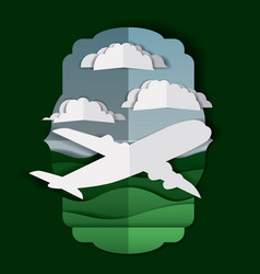 airplane flying with clouds and landscape vector image