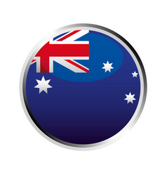 australia flag button symbol on white background vector image