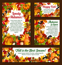 Autumn acorn leaf pumpkin greeting posters vector