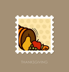 autumn cornucopia stamp harvest thanksgiving vector image
