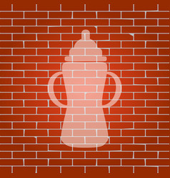baby bottle sign whitish icon on brick vector image