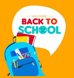 back to school children school supply backpack vector image