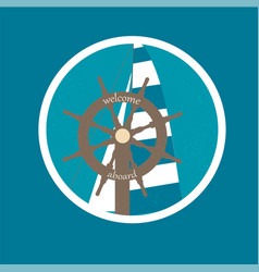 Badge with ship wheel and sail canvas vector
