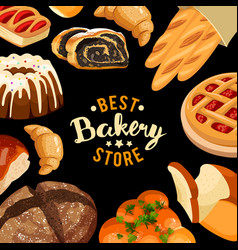 bakery shop frame baked bread products vector image