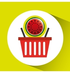 Basket market sweet watermelon icon design vector