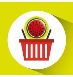 Basket market sweet watermelon icon design vector