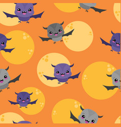 bats moons orange sky seamless pattern vector image
