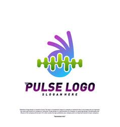best pulse logo design concept people beat logo vector image