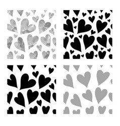 Black hearts seamless patte vector