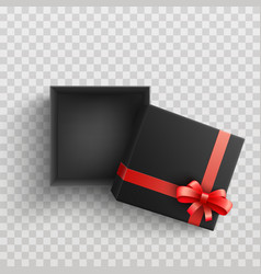 black present box with red ribbon bow open vector image