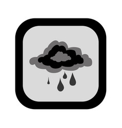 Black silhouette square button with rainy cloud vector