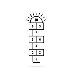 black thin line hopscotch icon vector image