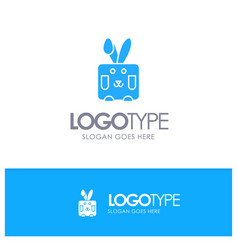 bunny easter rabbit holiday blue solid logo with vector image