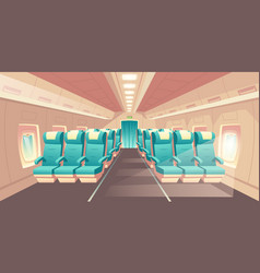 cabin of plane econom class seats vector image