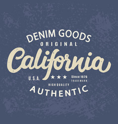 California authentic t-shirt print retro design vector