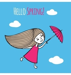 Card Hello Spring vector image
